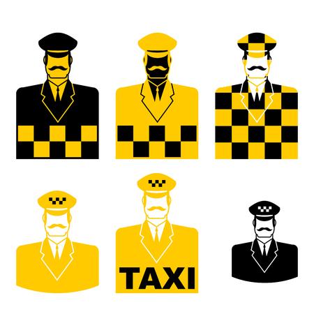 Conjunto de iconos de taxista. signo de taxista símbolo del taxista. Ilustración vectorial