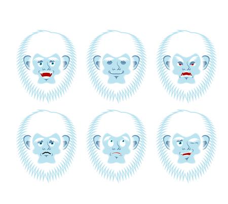 Yeti emoji set. Bigfoot sad and angry face. Abominable snowman guilty and sleeping avatar. Vector illustration