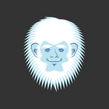 Yeti sleeping emoji. Bigfoot asleep emotion face. Abominable snowman sleeper avatar. Vector illustration