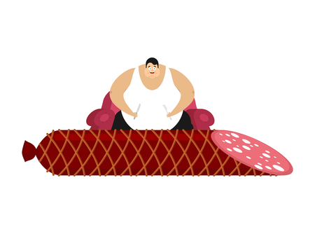 Fat guy is sitting on chair and salami. Glutton Thick man and sausage food. fatso vector illustration Illustration