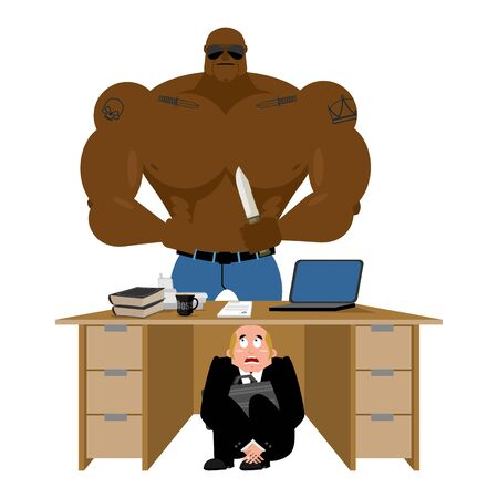 office theft: Businessman scared under table of robber