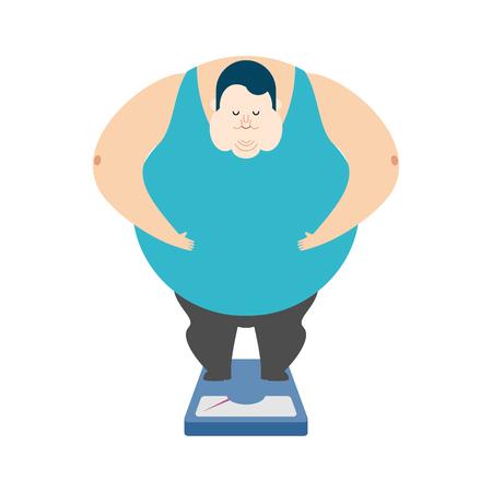 Fat guy on scales Çizim