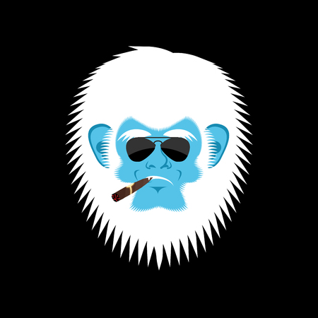 Abominable snowman with cigar