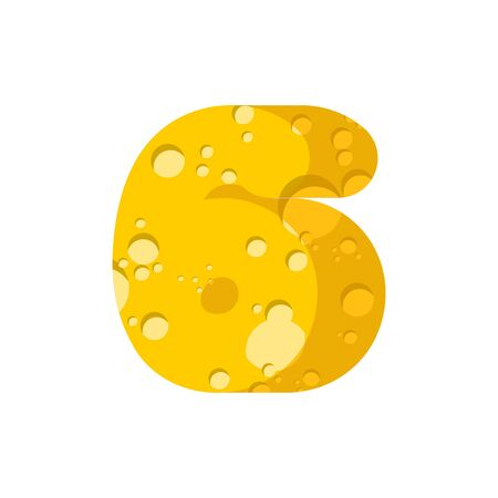 Figure 6 cheese font. numeral six of cheesy alphabet. Dairy Food type sign. Vector illustration