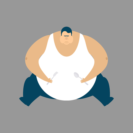 Fat guy sitting isolated. Glutton Thick man. fatso vector illustration Illustration