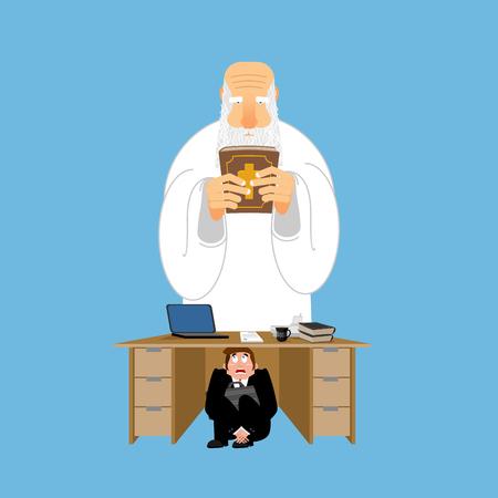 gods: Businessman scared under table of God