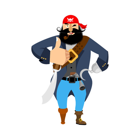 Pirate thumbs up. filibuster winks emoji. buccaneer cheerful. Vector illustration Illustration