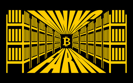 obtaining: Mining farm. Extraction of Cryptocurrency. Stand gpu. Technology for obtaining bitcoin and etherium. data center. Vector illustration Illustration