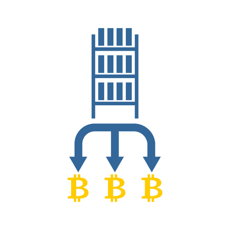 Mining bitcoin farm icon. Extraction of Cryptocurrency sign. Racks of GPU symbol. Vector illustration Vector Illustration