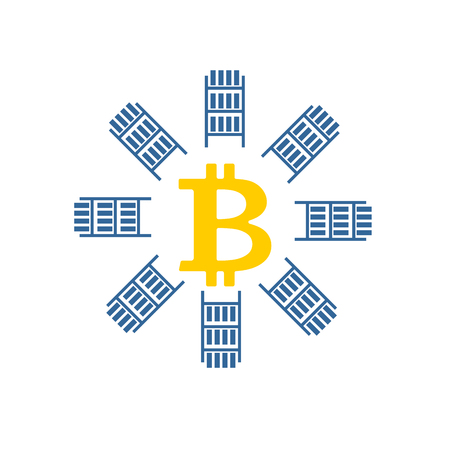 bitcoin network: Mining bitcoin farm icon. Extraction of Cryptocurrency sign. Racks of GPU symbol. Vector illustration