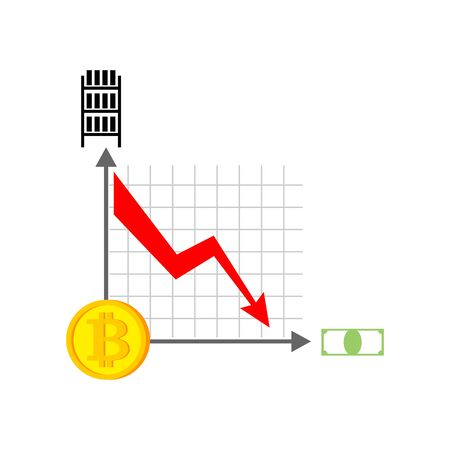 metal net: Falling bitcoin graph. Decrease in Cryptocurrency. Virtual money. Vector illustration