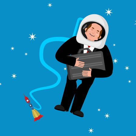 Businessman in space. Business astronaut. Boss spaceman. Vector illustration.