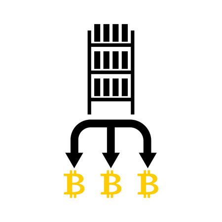 Mining bitcoin farm icon. Extraction of Cryptocurrency sign. Racks of GPU symbol. Vector illustration