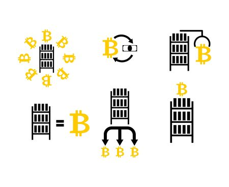 Cryptocurrency Extraction and exchange set icon. Mining bitcoin farm icon. Racks of GPU symbol. Vector illustration