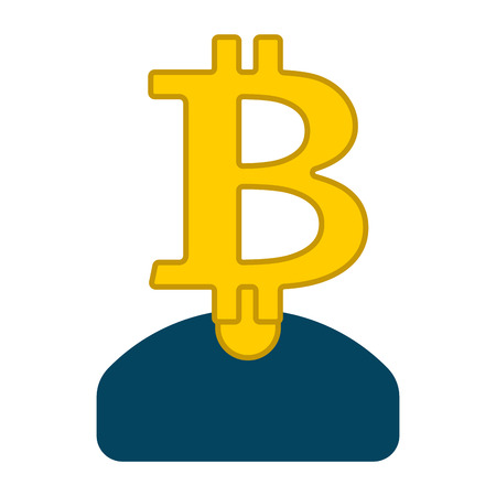 Miner bitcoin is businessman. Guy Cryptocurrency . Vector illustration