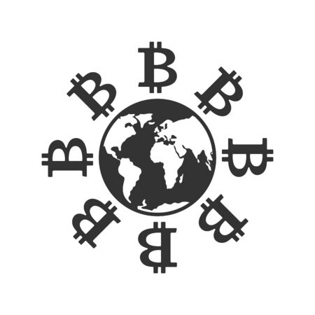 Bitcoin in world. Cryptocurrency and earth. Business icon. Financial symbol. Vector illustration
