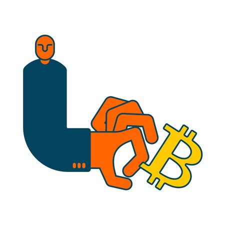 Bitcoin and businessman. Cancellation of Cryptocurrency business situation. Cancel of virtual money. Vector illustration