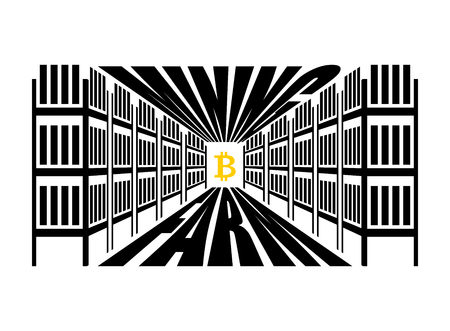 technology transaction: Mining farm. Extraction of Cryptocurrency. Stand gpu. Technology for obtaining bitcoin and etherium. data center. Vector illustration Illustration