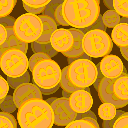 Bitcoin seamless pattern. Cryptocurrency background. Vector illustration