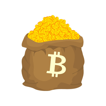 Bag of bitcoin. sack of Cryptocurrency . lot of virtual money Vector illustration