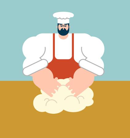 Chef Teig knetet. Bäcker Koch. Vektor-Illustration