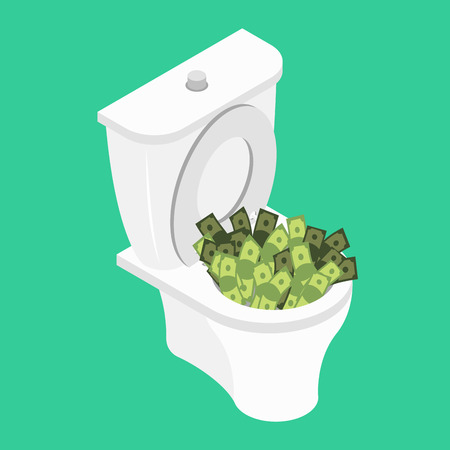 Money in toilet.. Wash off cash in wc. Vector illustration