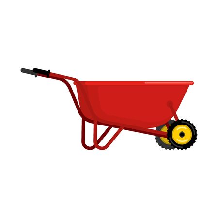 hauling: Santa Claus Wheelbarrow red. Xmas grounds trolley. Christmas and new year. Vector illustration