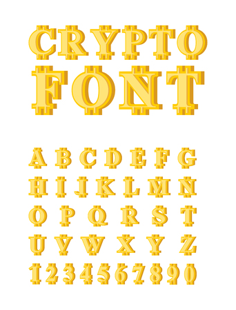 Bitcoin Crypto font. Crypto currency alphabet. Web money letter. Vector illustration