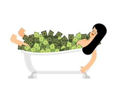 Girl in bathtub of money. Woman in Bath full cash. Vector illustration Illustration