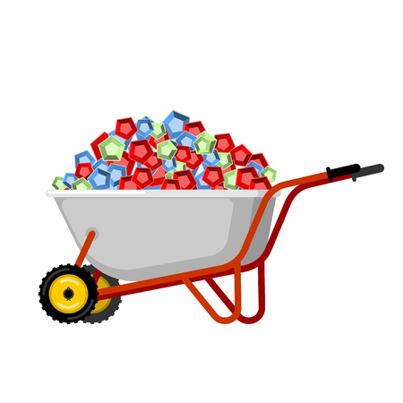 Wheelbarrow and gems. treasures in garden trolley. Vector Illustration
