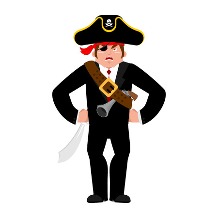 costume eye patch: Businessman pirate. Manager of  filibuster. Business  buccaneer. Vector illustration