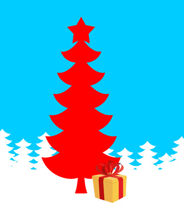 Red Christmas tree and gift. Illustration of new year. Vector Xmas