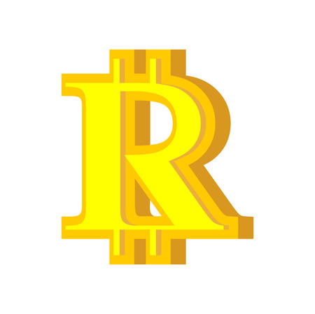 R letter bitcoin font. Cryptocurrency alphabet. Lettering virtual money. Vector illustration Stock fotó - 87469411