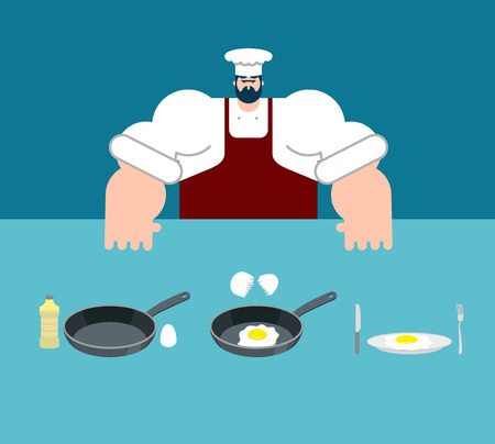 Scrambled eggs cooking instruction. Chef directions omelet. Step by step food instruction. Recipe for products. Ingredients. Vector illustration