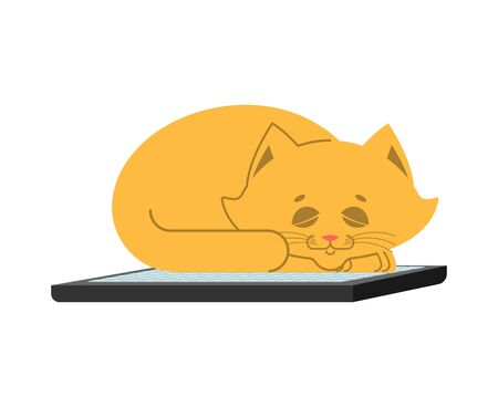 Cat and keyboard. Home pet and computer. Does not work. Vector illustration