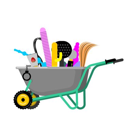 手押し車とセクシーなおもちゃ。庭のトロリーの大人のゲーム。セックス ショップ商品ベクトル図