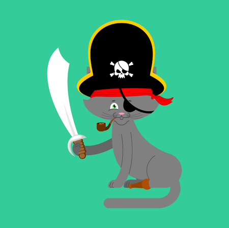 Cat pirate. Home pet buccaneer. filibuster hat and smoking pipe. wooden leg. Vector illustration.