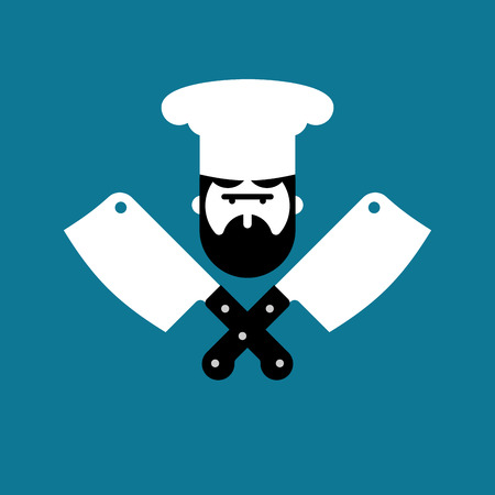 Butcher logo. Chef and knife for meat. Steak House Label. Butcher knife. Sign for restaurant or butchers shop. Vector illustration