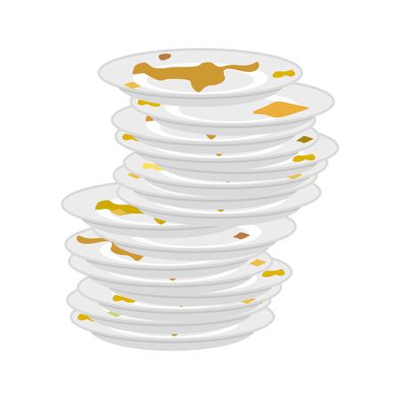 Brudne płyty stos na białym tle. nieczyste naczynia. Ilustracji wektorowych