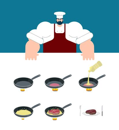 Steak cooking instruction. Chef directions grilled meat. Step by step food instruction. Recipe for products. Ingredients. Vector illustration