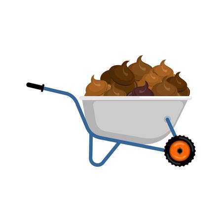 Wheelbarrow and shit. Turd in garden trolley. Vector Illustration Illustration