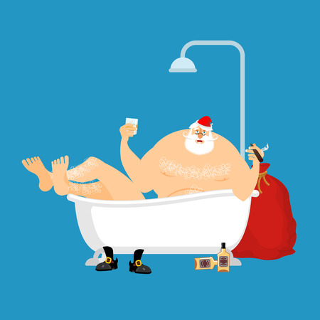 man drinking water: Santa Claus relaxes in bath. New Year and Christmas vector illustration