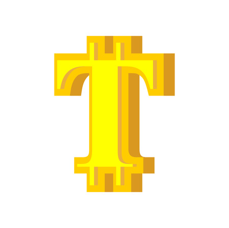 T letter bitcoin font. Cryptocurrency alphabet. Lettering virtual money. Vector illustration