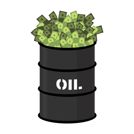 oil and gas industry: Barrel of oil and money. Barrel and cash. Vector illustration Illustration