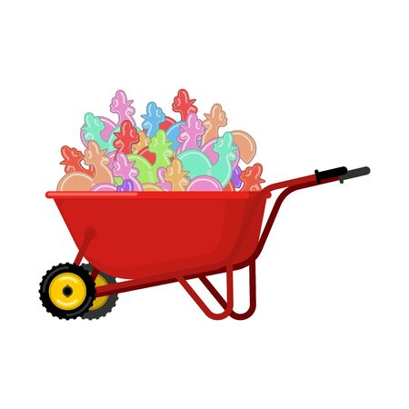 Santa Claus Wheelbarrow and Cockerel candy. Xmas Lollipops Cock grounds trolley. Christmas and new year. Vector illustration