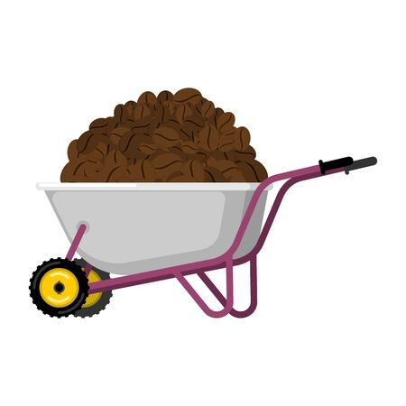 heavy industry: Wheelbarrow and coffee. coffee beans in garden trolley. big harvest Vector Illustration