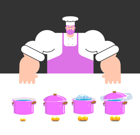 Cooking instruction template. Chef and saucepan. Step by step food instruction. Recipe for products. Ingredients. Vector illustration