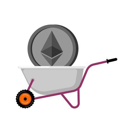 Wheelbarrow and Ethereum. Cryptocurrency in garden trolley. Virtual Cash. Vector Illustration