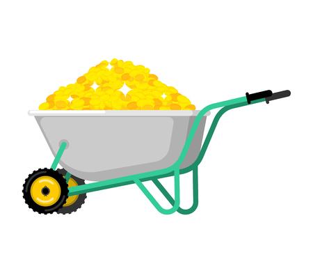 Wheelbarrow and gold coin. Golden treasures in garden trolley. Vector Illustration Illustration