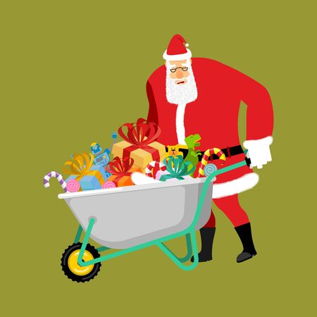 heavy industry: Santa Claus Wheelbarrow and gifts. Xmas grounds trolley. Christmas and new year banner or poster Vector illustration Illustration